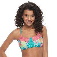 Juniors' Social Angel Floral Crisscross Bikini Top