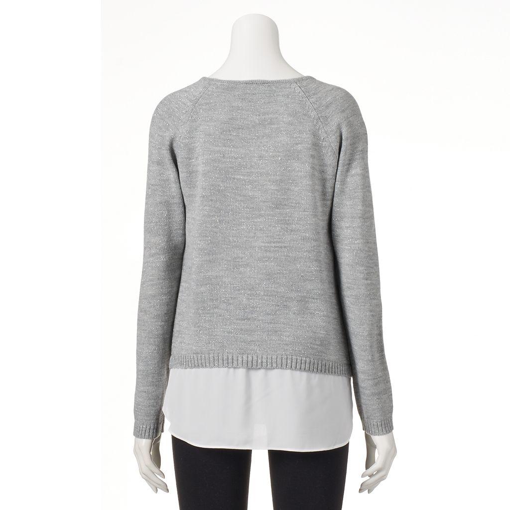 Women's AB Studio Metallic Chevron Sweater