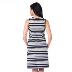 Women's ILE New York Striped Fit & Flare Dress