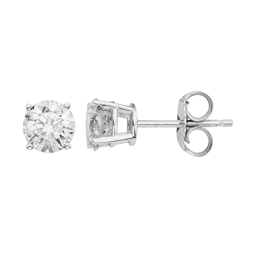 earrings gold ct in stud tw white diamond carat amour