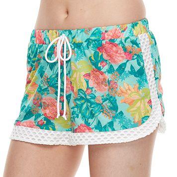 Juniors' Social Angel Floral Eyelet Soft Shorts