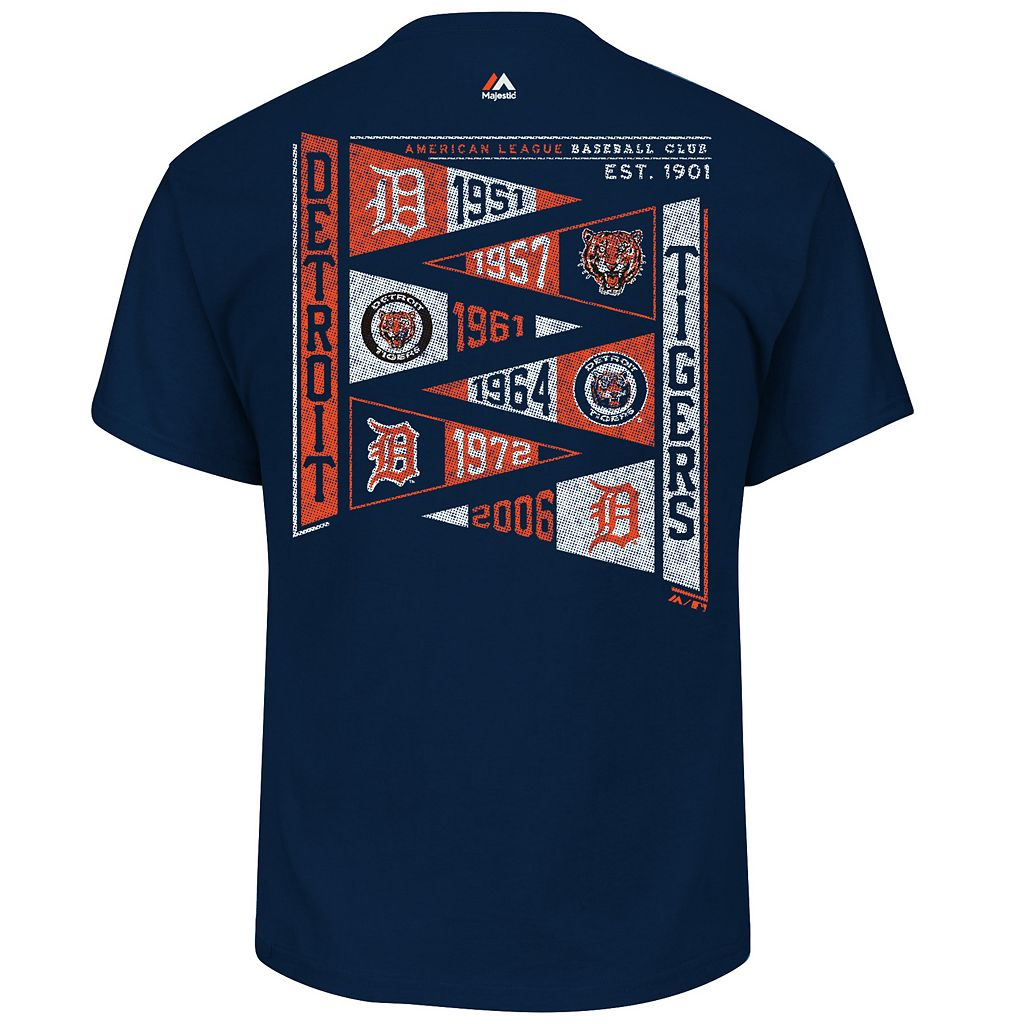 Men's Majestic Detroit Tigers Wave The Pennant Tee