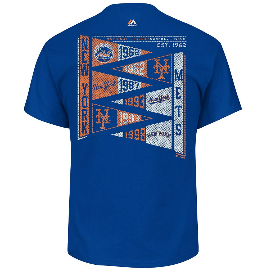 Men's Majestic New York Mets Wave The Pennant Tee