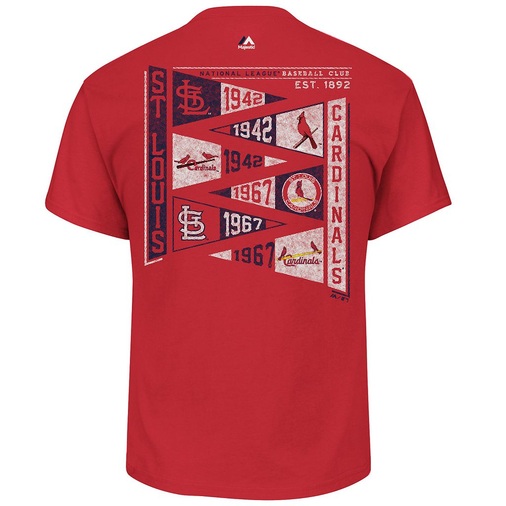 Men's Majestic St. Louis Cardinals Wave The Pennant Tee