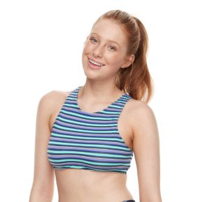 Juniors' Social Angel Lace-Up High-Neck Bikini Top