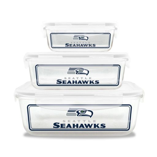Seattle Seahawks 3-Piece Glass Food Container Set