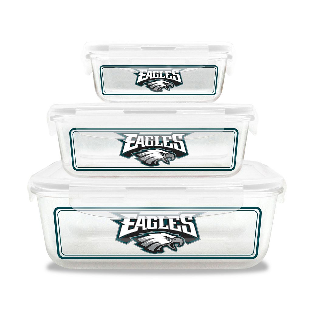 Philadelphia Eagles 3-Piece Glass Food Container Set