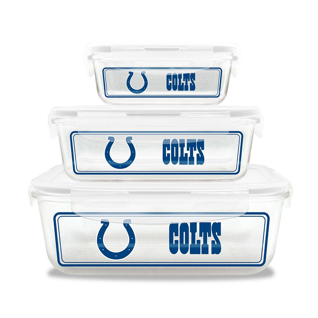 Indianapolis Colts 3-Piece Glass Food Container Set