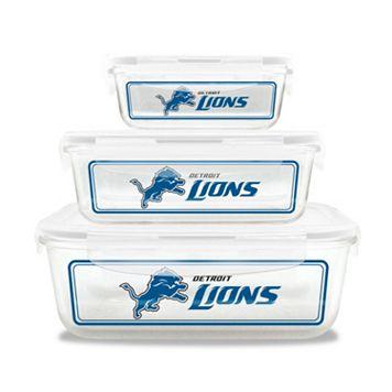 Detroit Lions 3-Piece Glass Food Container Set
