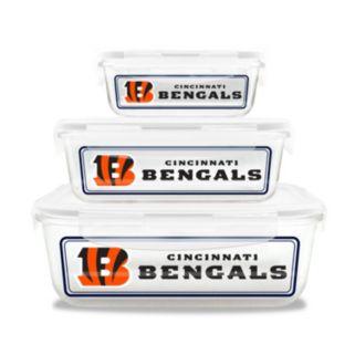 Cincinnati Bengals 3-Piece Glass Food Container Set