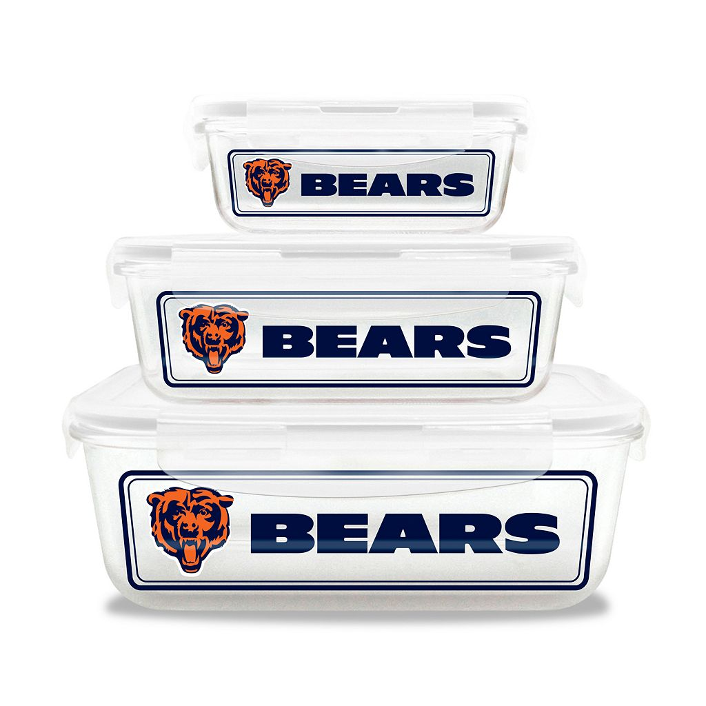 Chicago Bears 3-Piece Glass Food Container Set