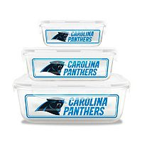 Carolina Panthers 3-Piece Glass Food Container Set