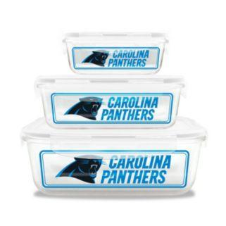 Carolina Panthers 3-Piece Glass Food Container Set