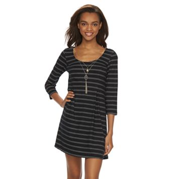 Juniors' Lily Rose Striped Knit Swing Dress