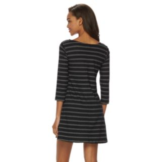 Juniors' Lily Rose Striped Knit Swing Dress