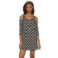 Juniors' Lily Rose Printed Cold Shoulder Dress
