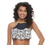 Juniors' Social Angel Animal Flounce Halter Bikini Top