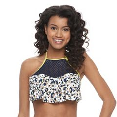 Juniors' Social Angel Animal Flounce Halter Bikini Top