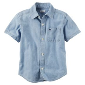 Toddler Boy Carter's Short Sleeve Button-Down Chambray Woven Shirt