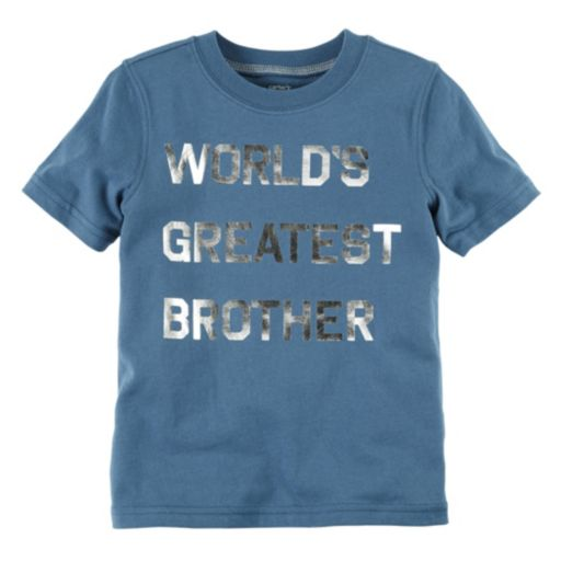 """Toddler Boy Carter's Short Sleeve """"World's Greatest Brother"""" Tee"""