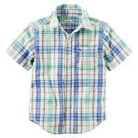Toddler Boy Carter's Short Sleeve Button-Down Yellow & Blue Plaid Shirt
