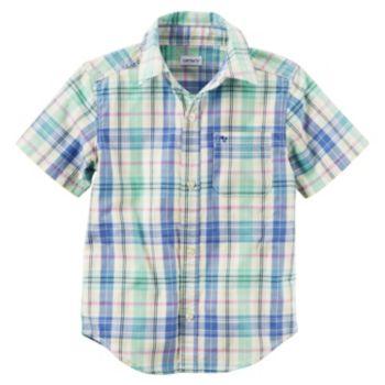 Toddler Boy Carter's Short Sleeve Button-Down Yellow & Blue Plaid Shirt