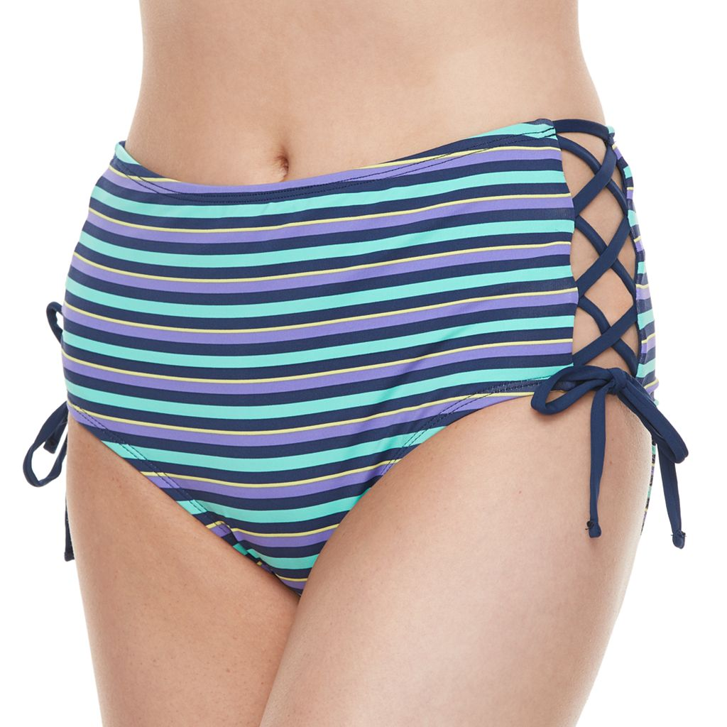 Juniors' Social Angel Lace-Up High-Waisted Bottoms