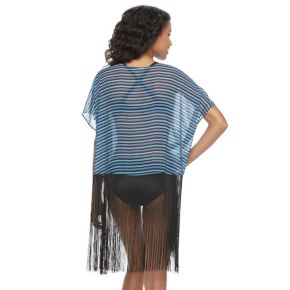 Juniors' Social Angel Fringe-Trim Kimono Cover-Up
