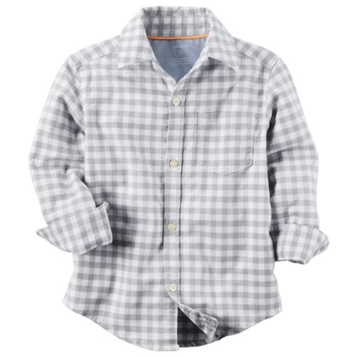 Boy Carter's Gray & Blue Checkered Button-Down Shirt