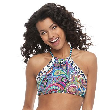 Juniors' Social Angel High-Neck Halter Bikini Top