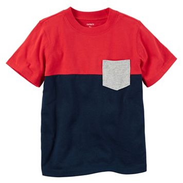 Toddler Boy Carter's Short Sleeve Red & Navy Colorblock Pocket Tee