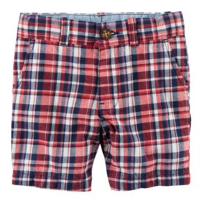 Toddler Boy Carter's Flat Front Red & Navy Plaid Shorts