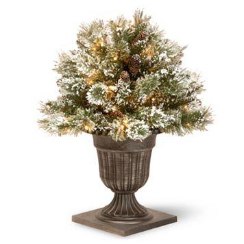 National Tree Company 24-in. Pre-Lit Artificial Pine Glitter Bush Plant
