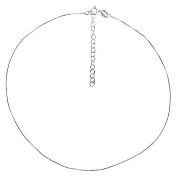 PRIMROSE Sterling Silver Box Chain Choker Necklace