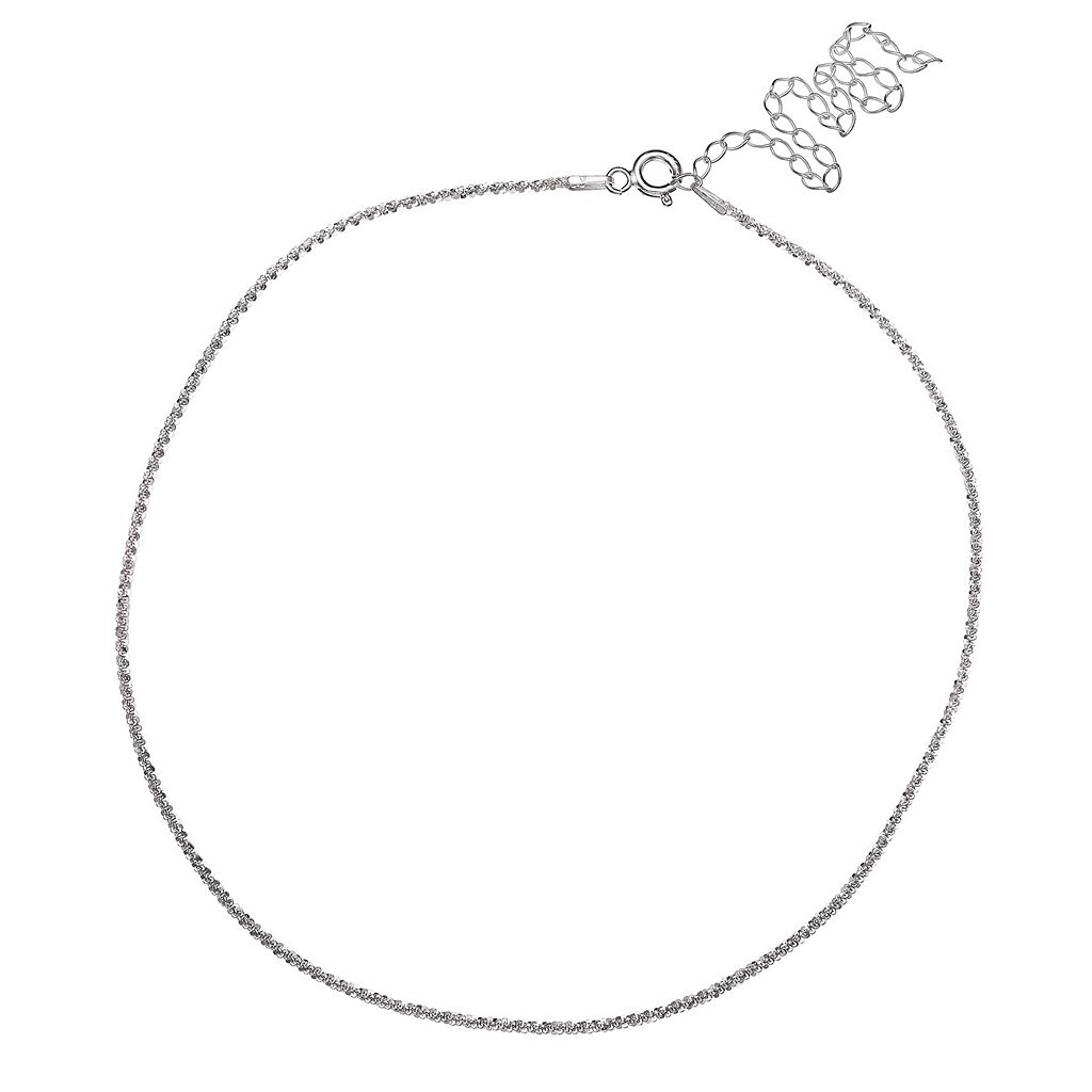 PRIMROSE Sterling Silver Sparkle Chain Choker Necklace