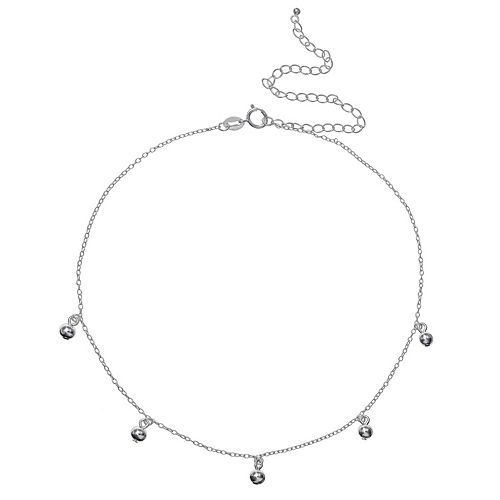PRIMROSE Sterling Silver Ball Station Choker Necklace