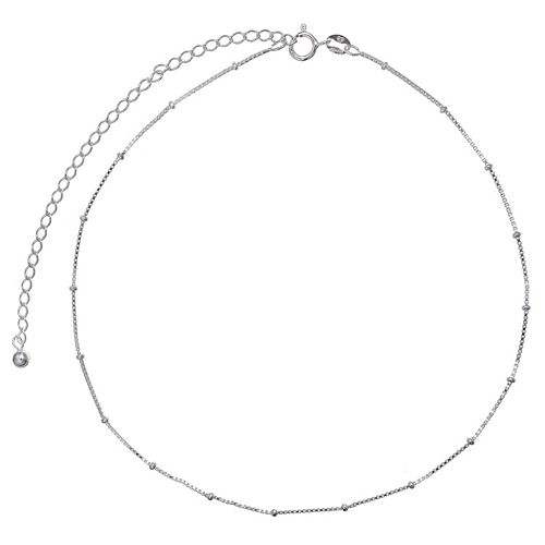 PRIMROSE Sterling Silver Beaded Box Chain Choker Necklace