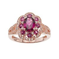 Sterling Silver Rhodolite & Lab-Created White Sapphire Flower Ring