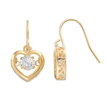 Illuminaire Cubic Zirconia Heart Drop Earrings