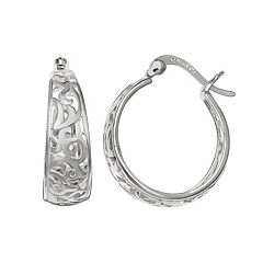PRIMROSE Sterling Silver Filigree Hoop Earrings