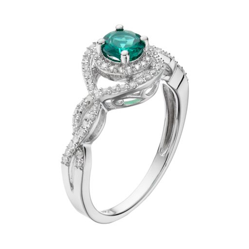 Sterling Silver Lab-Created Emerald & White Sapphire Halo Ring