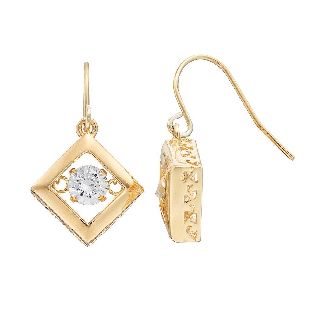Illuminaire Cubic Zirconia Square Drop Earrings