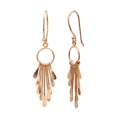 PRIMROSE 14k Rose Gold Over Silver Graduated Paddle Drop Earrings