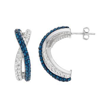 Chrystina Crystal Twist C-Hoop Earrings