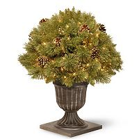 National Tree Company 26 in Pre-Lit Artificial Pine Gold Finish Bush Plant