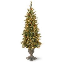 National Tree Company 4-ft. Pre-Lit Artificial Pine Gold Finish Glitter Porch Tree