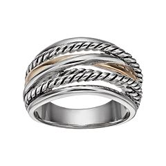 Sterling Silver & 14k Gold Braided Crisscross Ring