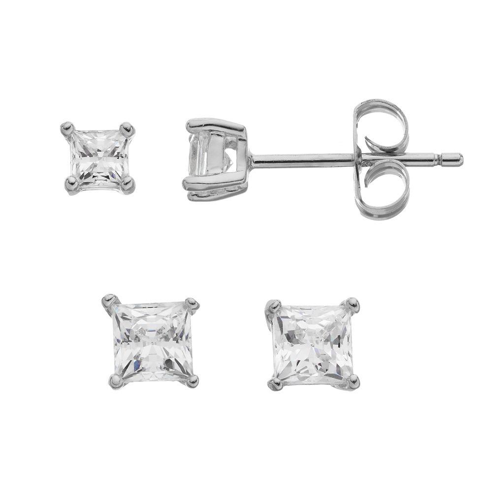 IlluminaireCubic Zirconia Square Stud Earring Set