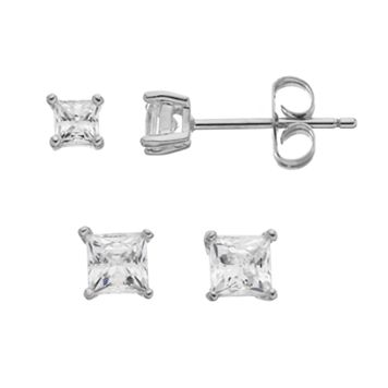 Illuminaire Cubic Zirconia Square Stud Earring Set
