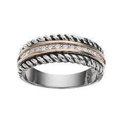 Sterling Silver & 14k Gold Cubic Zirconia Braided Ring